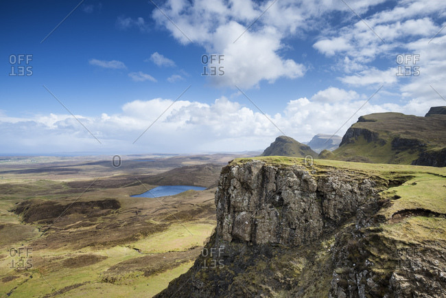 United Kingdom- Scotland- View of mountains at Quiraing