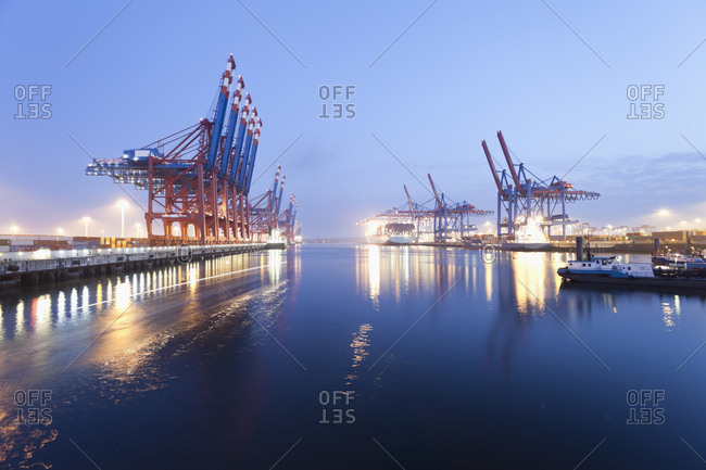 Germany- Hamburg- Burchardkai- View of container ship at harbor