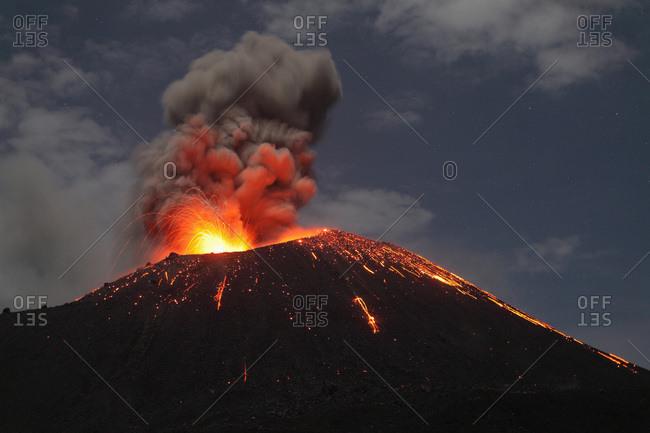 Indonesia- Sumatra- Krakatoa volcano erupting