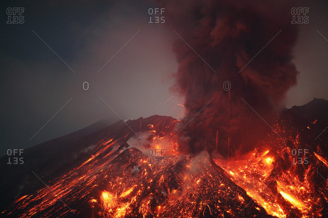 Japan- Kagoshima- Sakurajima volcano erupting