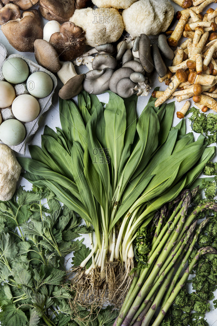 Springtime bounty with ramps, mushrooms, eggs and asparagus