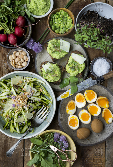 An assortment of spring vegetable sides