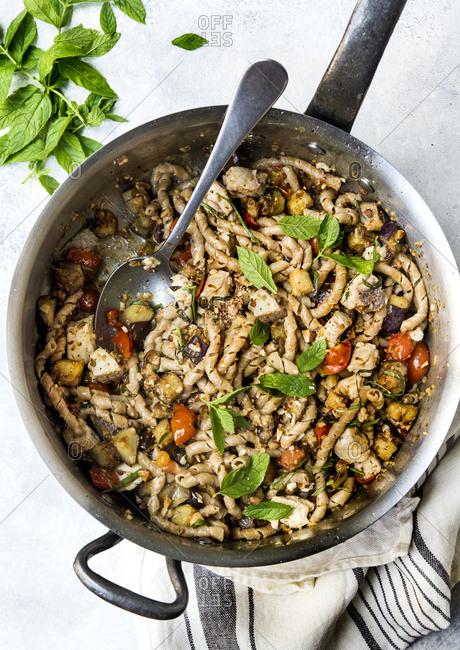 Sicilian pasta with swordfish