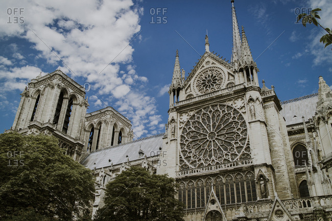 Side of Notre Dame Cathedral in Paris