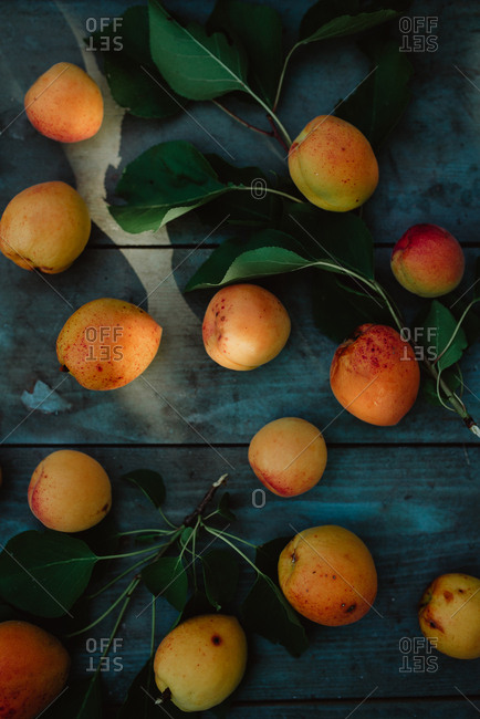 Peaches on a wood background