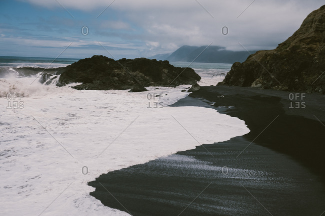 Black sand beach on california coastline