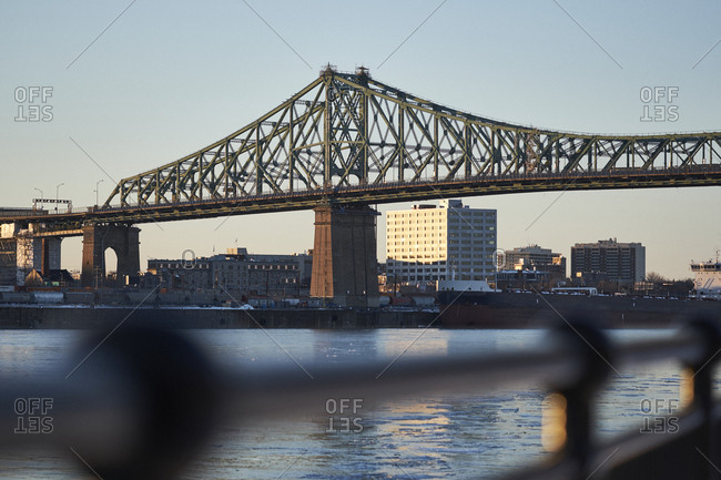 Jacques Cartier bridge during winter months, Montreal, Quebec, Canada