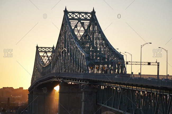 Jacques cartier bridge during sunset, Montreal, Quebec, Canada