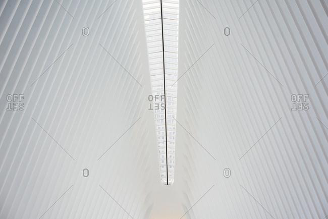 New York City, USA - June 28, 2017: The central spine of the roof structure and the ridges in the roofline in the World Trade Centre hub, the Oculus building in New York City