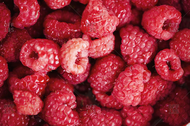 Full frame close up of fresh raspberries