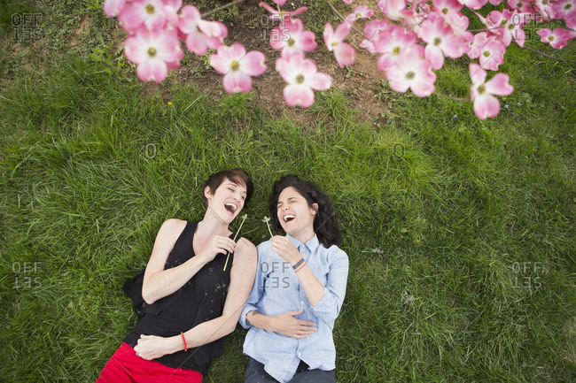 A same sex couple, two women lying on the grass laughing, under the branches of a flowering tree