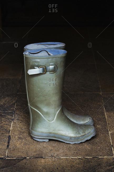Pair of green Wellington boots standing on stone floor
