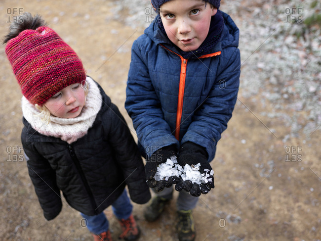 Young brother and sister holding ice in their hands on a forest path on a cold winter day
