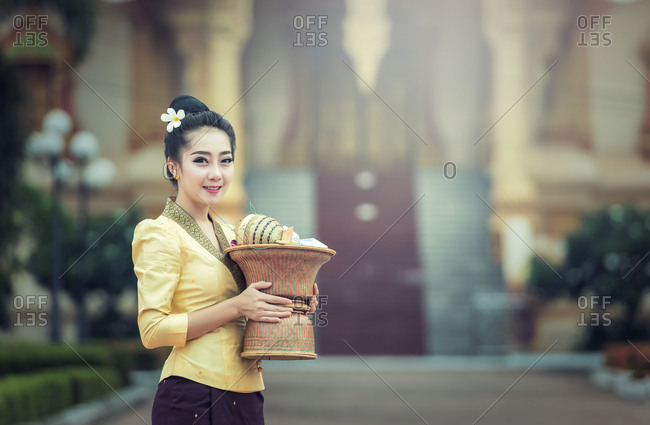 Beautiful girl in Laos traditional dress