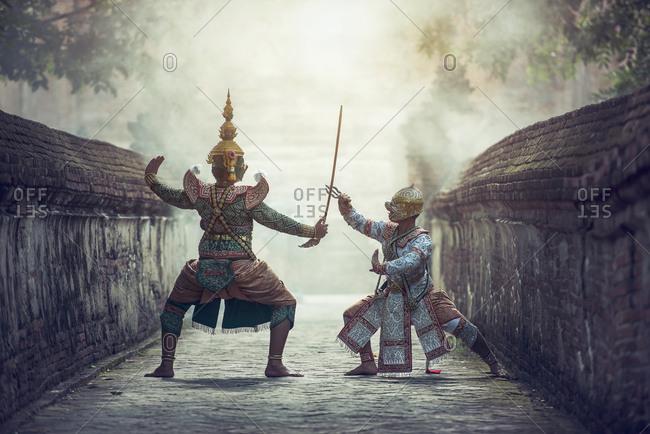Art culture Thailand Dancing in masked khon Tos-Sa-Kan and hanuman in literature Ramayana