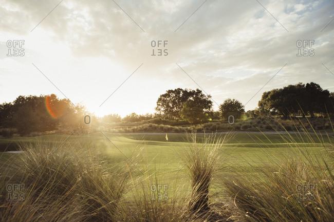 Sun setting over a fairway on a golf course