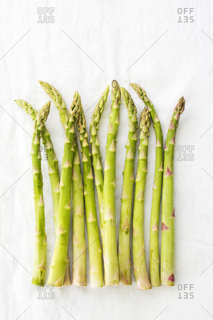 Row of raw, uncooked asparagus spears