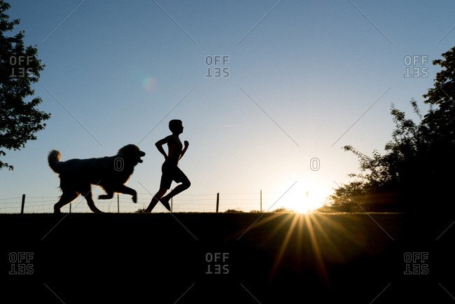 Dog and boy running together in a field at sunset