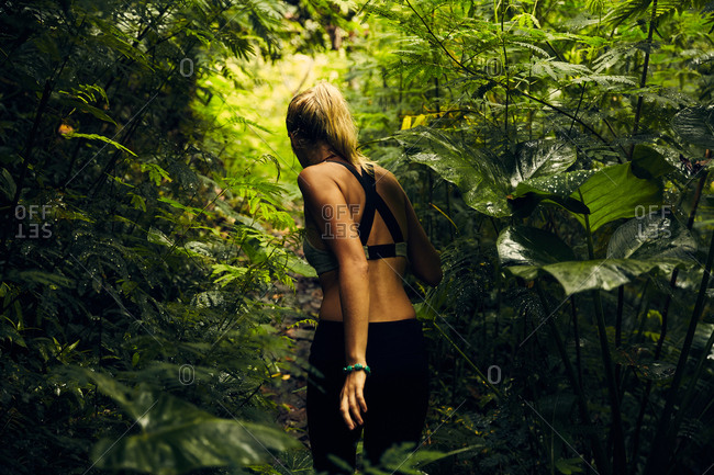 Woman exploring forest in Bali