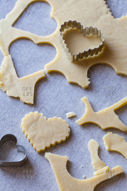 Heart shaped cookie dough cut outs