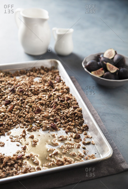Tray of maple pecan granola