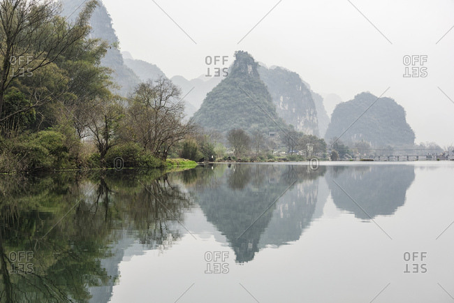 Misty lake in Guilin