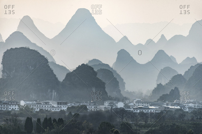 Guilin with mountainous landscape in the background