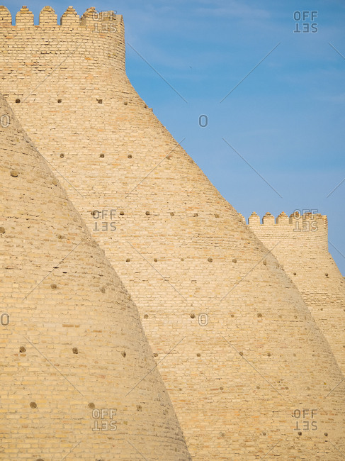Details of the fortified walls at the Ark of Bhukara, Uzbekistan