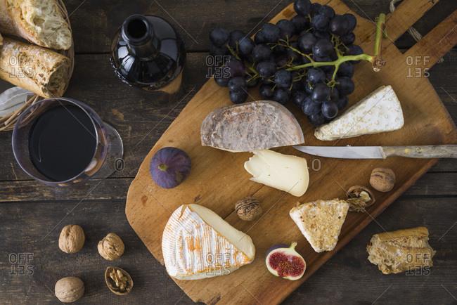 Cheese platter with camembert- walnut cheese- gorgonzola and taleggio