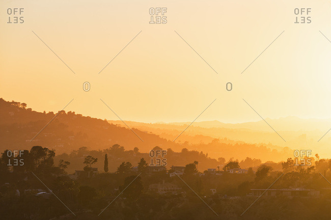 USA- California- Los Angeles- Villas in the Hollywood Hills at sunset