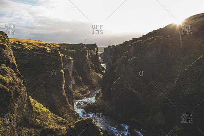 Fjadrargljufur Canyon, Iceland - November 8, 2016: The beautiful view of Fjadrargljufur, which is a canyon in south east Iceland
