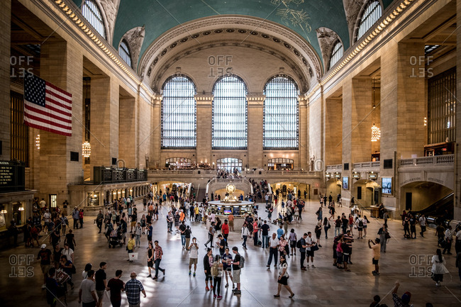 New York, United States of America - July 8, 2017: The Grand Central Terminal also known as the Grand Central Station in New York has remained the busiest train station in the United States