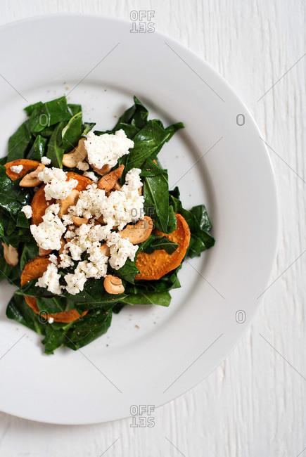 Collard green and sweet potato salad