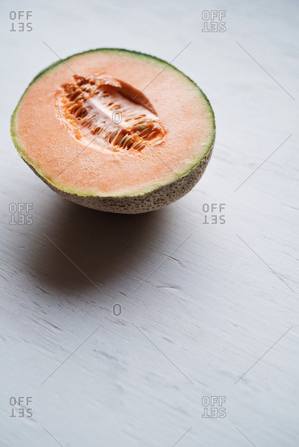 Half of a cantaloupe melon