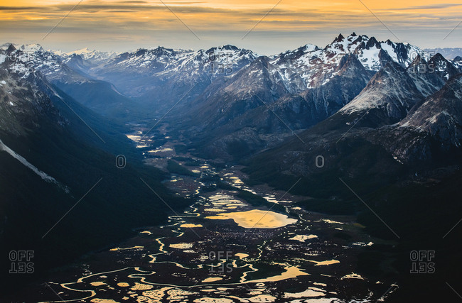 Aerial view of the Cordillera Darwin mountain ranges of Tierra del Fuego, near Ushuaia, Patagonia