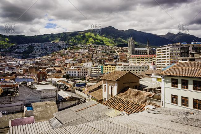 Quito, Ecuador - December 28, 2012: Elevated view of Quito, Ecuador