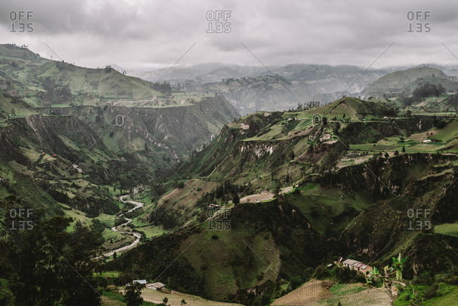 Elevated view of the Andes Mountains in Ecuador