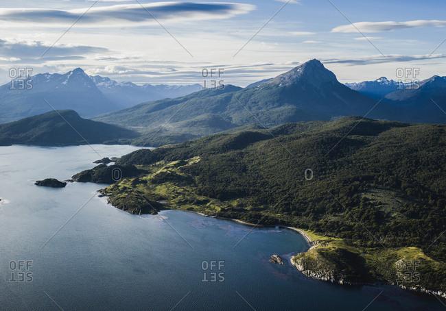 View of the Cordillera Darwin mountain ranges of Tierra del Fuego, near Ushuaia, Patagonia