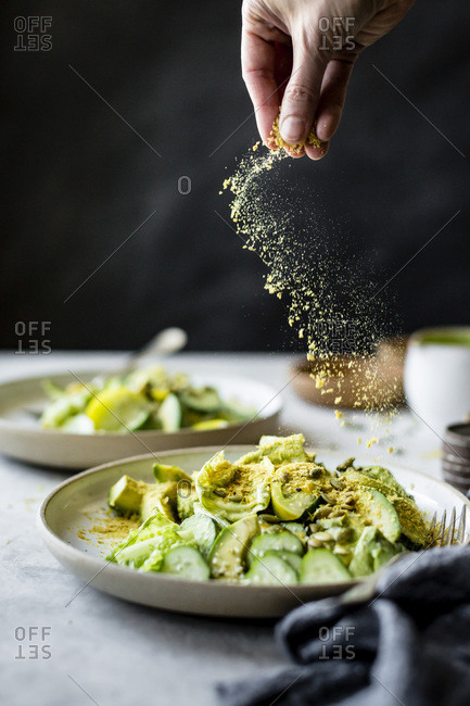 Healthy vegan green salad