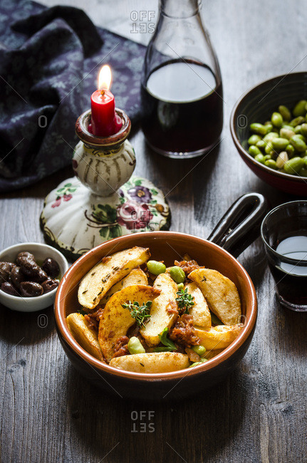 Patatas Bravas with fava beans