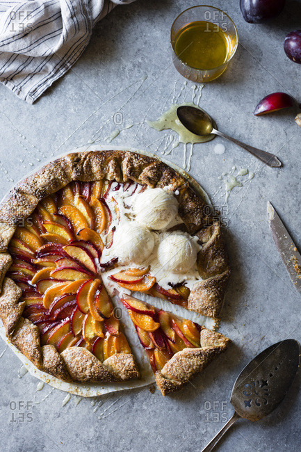 French Fruit Galette Pie with peaches, nectarines and plum