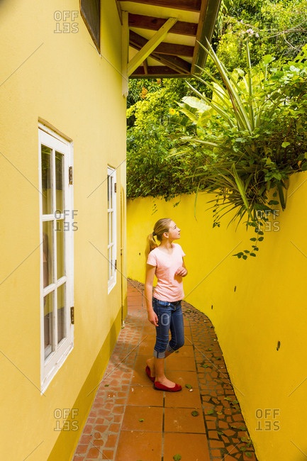 Caucasian girl admiring foliage above yellow wall