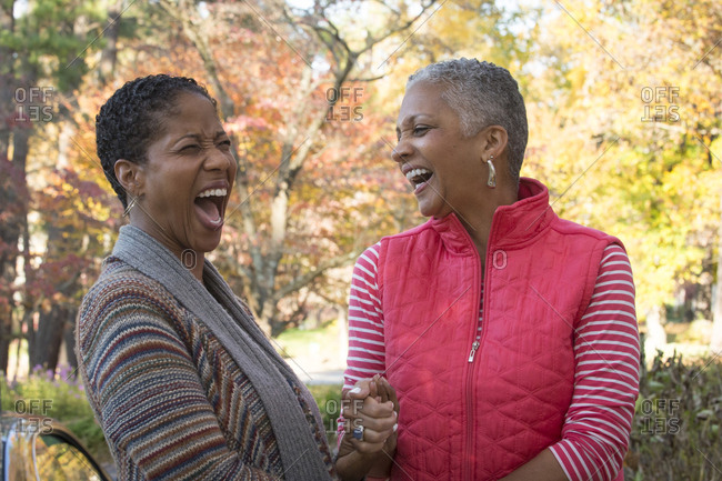 African American women holding hands and laughing outdoors
