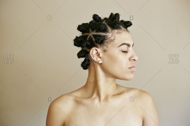 Profile of Mixed Race woman with eyes closed