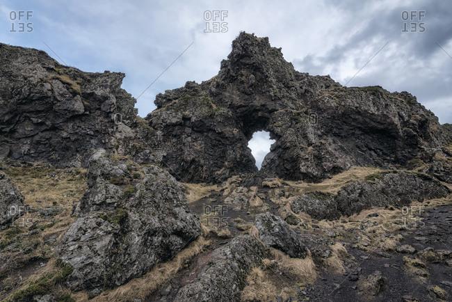 Arch in rock formation, Hellissandur, Snaellsnes peninsula, Iceland