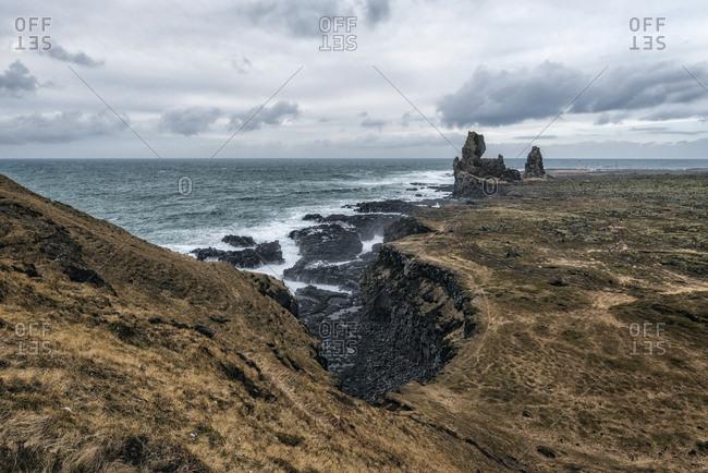 Rock formations near ocean, Hellissandur, Snaellsnes peninsula, Iceland