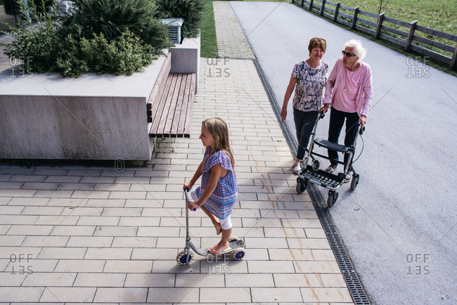 Three generations of female family taking a stroll together