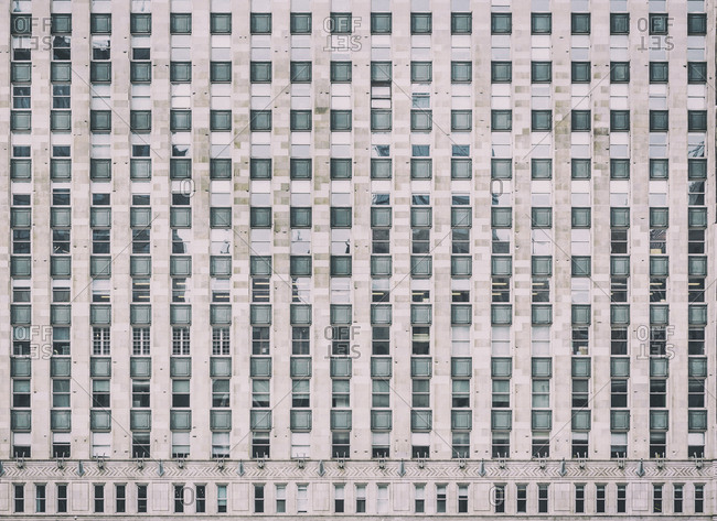Chicago, IL, USA - June 18, 2015: Detail of the Merchandise Mart (or MART building), an icon in Chicago�s history since the 1930s. It was developed by Marshall Field & Co. to create a central marketplace where retailers could come to buy their wares all under one roof