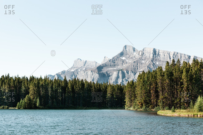 View of Mount Rundle from Two Jack Lake in Alberta, Canada
