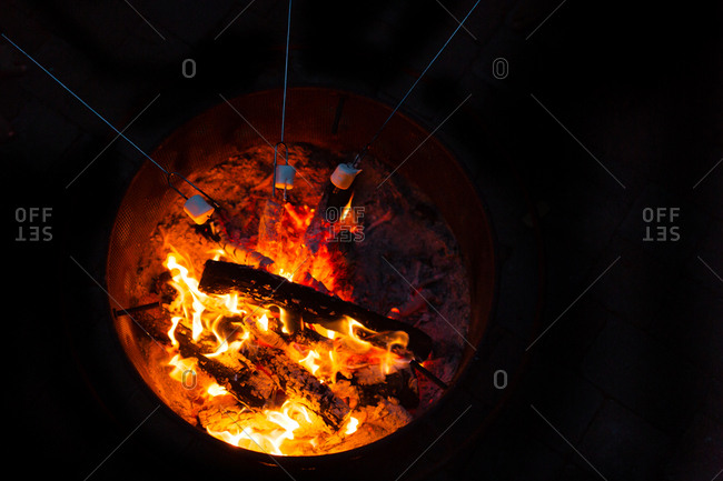 Roasting Marshmallows Over A Fire Stock Photo
